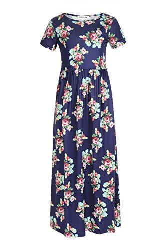 - GAZIAR Girl's Maxi Dress Summer Short Sleeve Floral Printed Empire Waist Long Casual Dress with Pockets