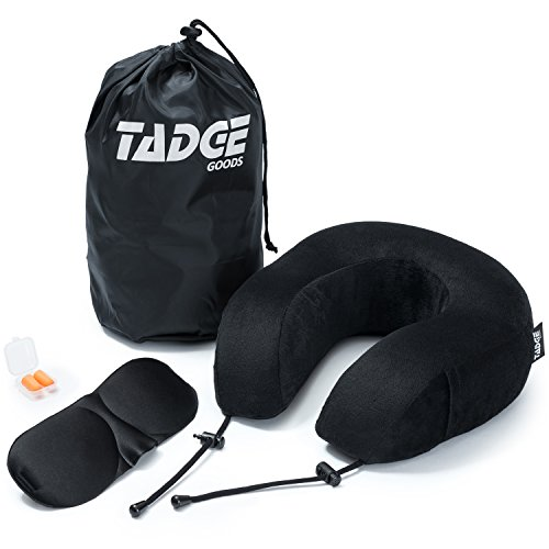 Price comparison product image Tadge Goods Neck Travel Airplane Pillow & Accessories – 100% Pure Memory Foam – Sleeping Eye Mask, Ear Plugs, Travel Bag Included – 10 Colors To Choose From