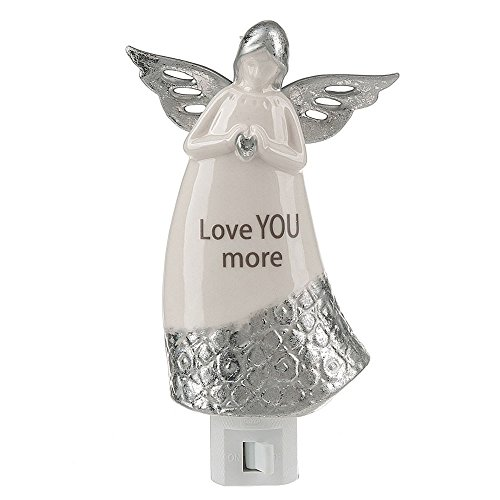 Best Guardian Angel Night Light, Love You More, Plug in for Safety, Soothing, Calming Nights Cute White and Silver by Lights in the Night