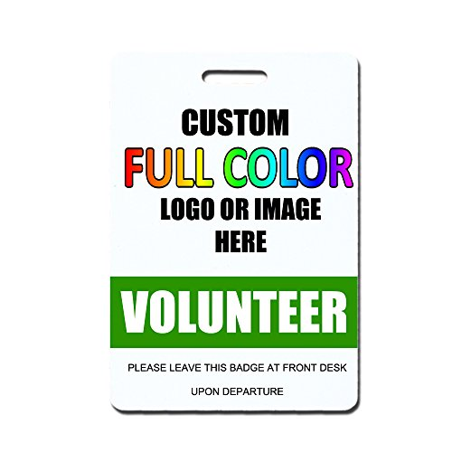Quick Badges Custom Logo Volunteer Badges, Green 100 Count - Buy