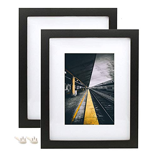 Afuly 8x10 Picture Frame Set Black Wood with White Mat to fit 5x7 Photo for Desk and Wall Gallery Mounting Material Included 2 Pack - Made of Solid Wood & 2mm Thick Plexiglass