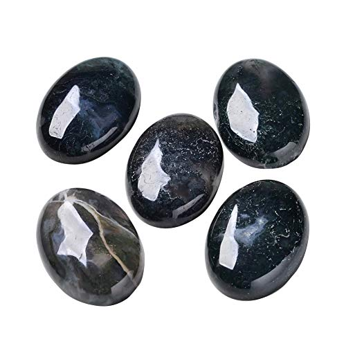 B.D craft 20pcs 35mm Oval Natural Moss Agate Cabochons Undrilled Gemstone for Pendants Rings Making and Blank Bezel - 25x35mm Gemstone Oval Pendant