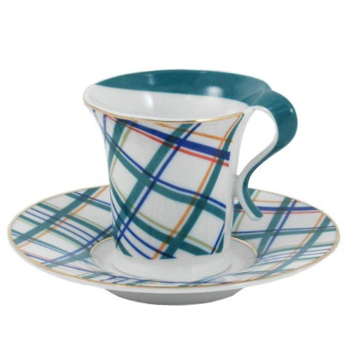 Retro Art Deco Plaid Porcelain Espresso Demitasse Set 12 Pieces