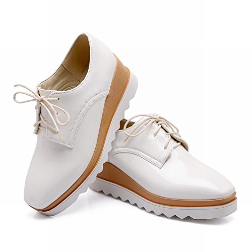 Carolbar Womens Fashion Lace-up Square Toe Patent Leather Wedge Heel Oxfords Shoes White rCsv4OeBui