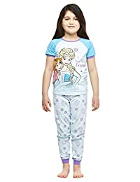 Girls 2-Piece Cotton Pajama Set,Top & Jogger Pants