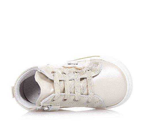 NERO GIARDINI - Baskets beiges à lacets en dentelle et cuir, glissière latérale, fille, filles