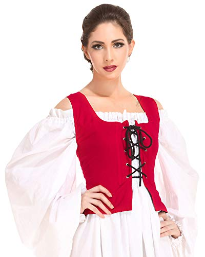Pirate Wench Peasant Renaissance Medieval Costume Corset Bodice C1051 [Red] (X-Large) -