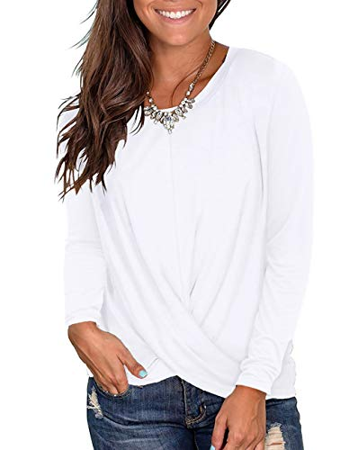 Kimiee Women's Casual Round Neck Long Sleeve T Shirts Twist Front Tunic Tops (z3 White, L) (Best Deals On Cyber Monday 2019)