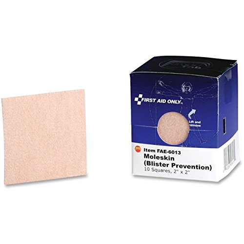 First Aid Only Moleskin/Blister Protection, 2 inch Squares, 10/Box