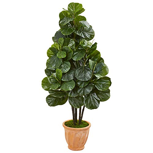 Nearly Natural 9380 58-in. Fiddle Leaf Fig Artificial Terra Cotta Planter Silk Trees, - Trees Fig Silk