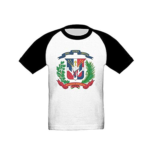 - Coat of Arms of The Dominican Republic Fashion Unisex Cotton Short-Sleeved T-Shirt Boy T Black