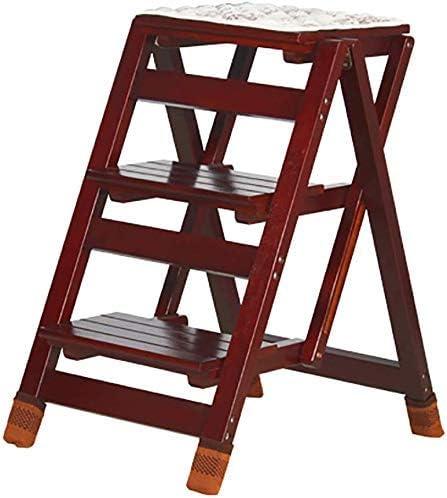 Taburete plegable fácil y multifuncional, taburete con escalera de 3 peldaños Escalera de madera resistente, taburete alto portátil para cocina doméstica, color nogal amarillo / color nogal negro, nogal amarillo: Amazon.es: Hogar