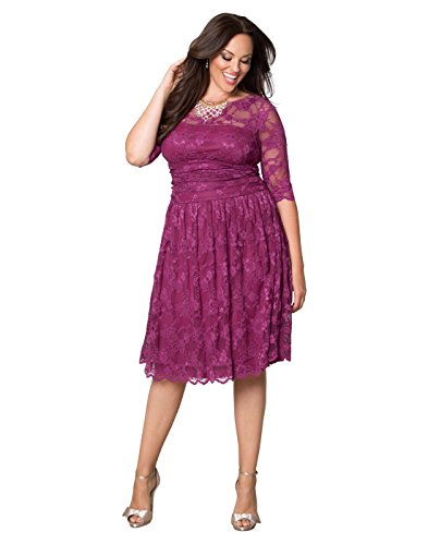 Kiyonna Women's Plus Size Luna Lace Dress 1x Glazed Raspberry