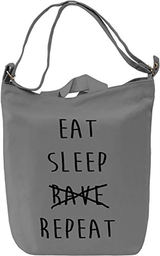 Eat Sleep Repeat Borsa Giornaliera Canvas Canvas Day Bag| 100% Premium Cotton Canvas| DTG Printing|