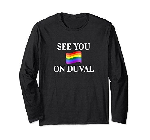 Unisex Key West Duval Street Rainbow Flag Florida Keys Medium Black