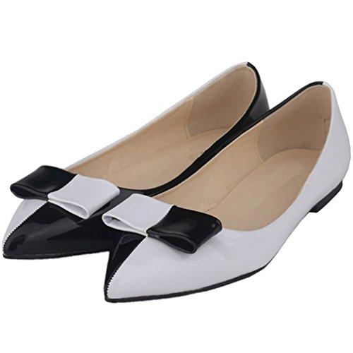 SAMSAY Womens Basic Pointy Toe Slip On Ballet Flat Shoes Black + bowknow w4D36yH