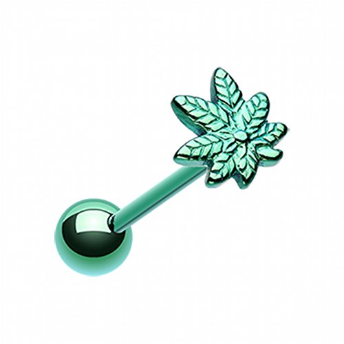 Tongue Pot Ring Leaf - Bazooky Colorline PVD Pot Leaf Top Steel Barbell Tongue Ring (Green)