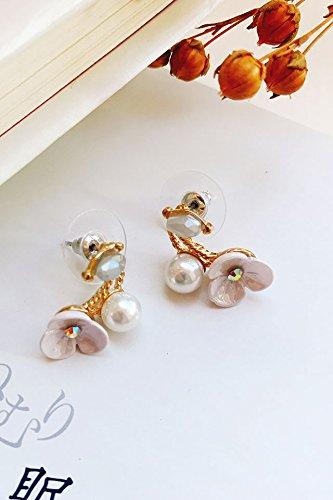 HJPRT delicate lace flowers long pearl tassels lovely small ear clip earrings earings dangler eardrop non pierced (lucky flower tanzanite