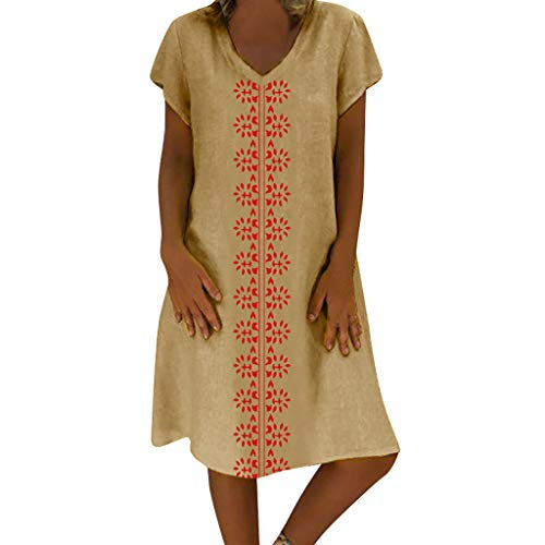 - Sunhusing Women's Summer Cotton Linen Print V-Neck Short Sleeve Dress Loose Casual Boho Long Maxi Dress Khaki