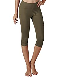 fa8cb134dace14 Yoga Reflex Women's Tummy Control Running Pants Yoga Capri Leggings - Pocket