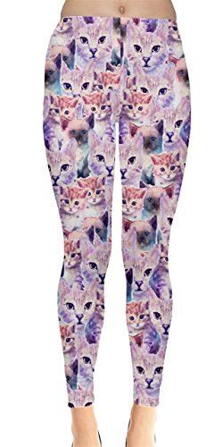 Violet Animal (CowCow Womens Violet Cats Colorful Animals Pattern Leggings, Violet - M)