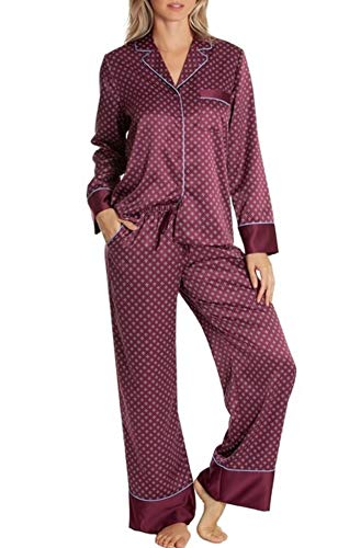 In Bloom by Jonquil Satin Pajama Set, X-Large Burgundy