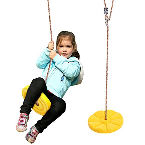 Tree Swing Seat Accessories for Child Sport Exercise Flying Saucer Flower Plastic Disc Seat, Playground Swing Equipment, Hanging Chair for Outdoor, Yellow