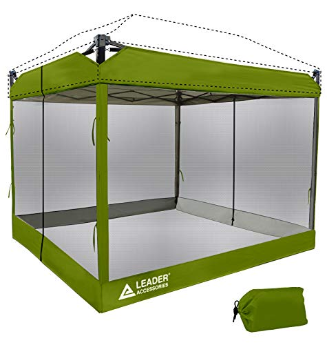 Leader Accessories Mesh Screen Zippered Wall Panels for 10' x 10' Canopy (Tent Walls Only, Frame and Top Not Included) (Green mesh Wall)