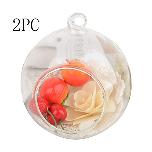 MEANIT 2PCS Glass Tealight Candle Holder, Glass Globe Terrarium Candle Holder, Round Votive Candle Holders Bulk