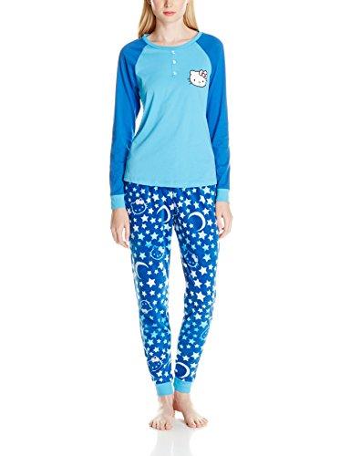 Hello Kitty Women's Lovely Dreamer Stars and Moon Print Raglan Sleeve Pajama Set, Blue/Multi, Large