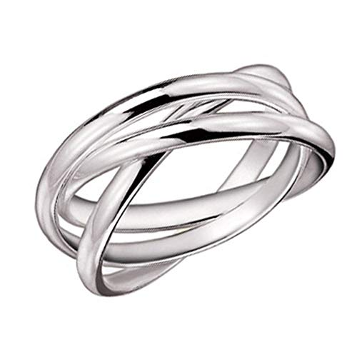 925 Sterling Silver 3 Band Rolling Ring