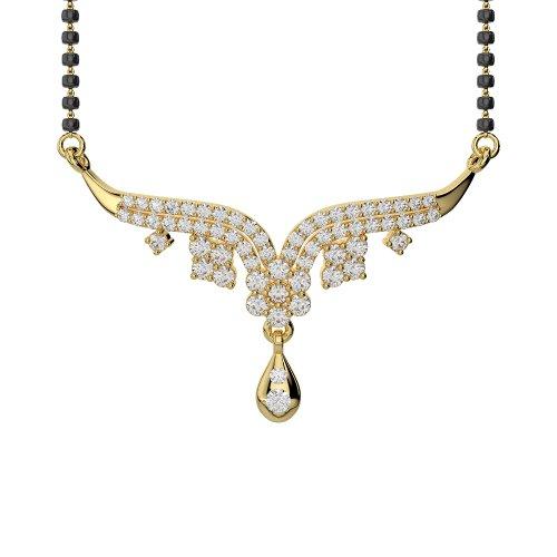 Or jaune 18carats 0,64CT G-H/VS sertie de diamants ronds Cut Mangalsutra Collier Agms-1001