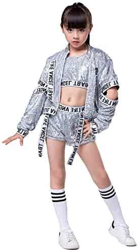 042947b7aadb 5PCS Girls Sequins Jazz Dance Costume Hip Hop Glitter Dance Clothing Set