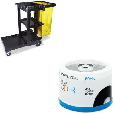 kitmem04751rcp617388bk-value-kit-memorex-cd-r-discs-mem04751-and-rubbermaid-cleaning-cart-with-zippe