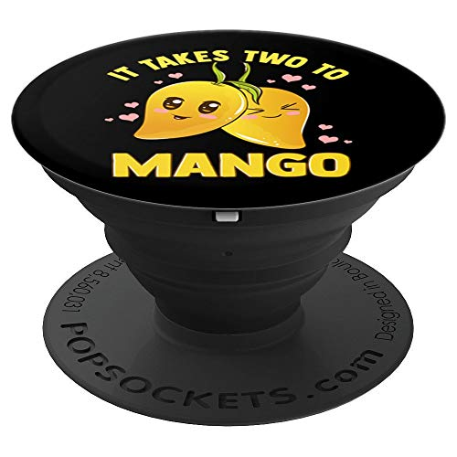 It Takes Two To Mango Funny Fruit Tango Romantic Food Pun PopSockets Grip and Stand for Phones and Tablets