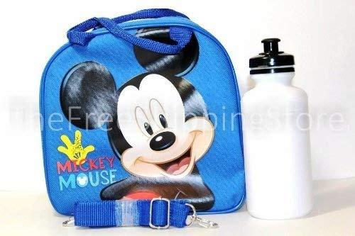 Disney Licensed: Lunch Bag for Kids Girls with Water Bottle & Adjustable Shoulder Strap (Blue MickeyMouse) by Disney