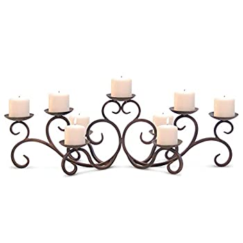 Image of Pilgrim Home and Hearth 17502 Hawthorne Candelabra Candle Holder, Distressed Bronze Home and Kitchen