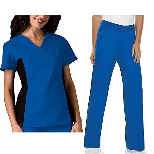 Cherokee Flexibles Women's 2874 V-Neck Knit Panel Top & 2085 Pull-on Pant Medical Uniform Scrub Set + FREE GIFT (Royal - Large) (Scrub Top Flexibles V-neck Tunic)