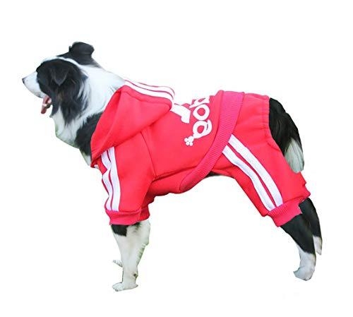 Rdc Pet Adidog Dog Hoodies, Clothes,Fleece Jumpsuit Warm Sweater,4 Legs Cotton Jacket Sweat Shirt Coat Small Dog Medium Dog Large Dog (4XL, Red) by Rdc Pet