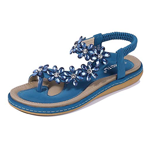 Blue Flower Flip Flops - Wollanlily Women Summer Beach Bohemia Flat Sandals Rhinestones Flower Ankle Strap Flip-Flop Shoes(11 B(M) US,Blue 03)