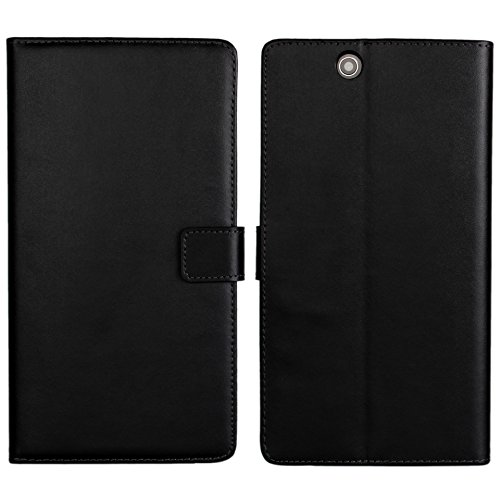 Sony Xperia Z Ultra XL39h Case, iCoverCase Genuine Leather [Card Slot] Wallet Cover Flip Phone Shell [Magnetic Closure] Kickstand Case for Sony Xperia Z Ultra XL39h C6802 C6806 C6833 (Black) (Best Case For Sony Xperia Z Ultra)