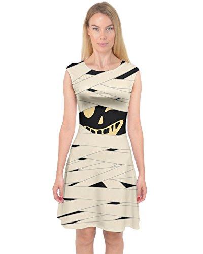 PattyCandy Womens Ivory Mummy Halloween Outfit Capsleeve Midi Dress - (Dress Mummy Halloween)