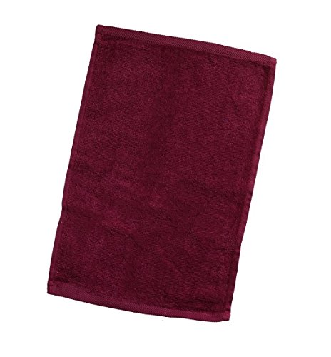 6-Pack Terry Velour Hand Towels 100% Cotton, 11''x18'', Hemmed Fingertip Towel, Sport Towel Terry Velour Hemmed Towels (6, MAROON) by Georgiabags