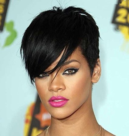 Beauty Fashion Wigs Capless New Arrival Rihanna Style Black 1B Color Short Straight Synthetic Hair Wigs Wig Natural Sexy Daily (Cheap Coloured Wigs)