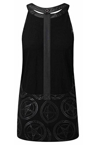 Killstar Damen Okkult Tank Top Pentagramm - Baphomet Spine Vest Ärmelloses Shirt