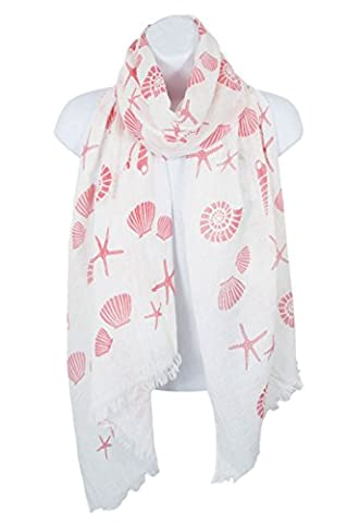HEYDAY Lightweight Soft Shawl Wrap: Womens Pastel Seashell and Starfish Print Scarves (Coral) - Crochet Shell Afghan