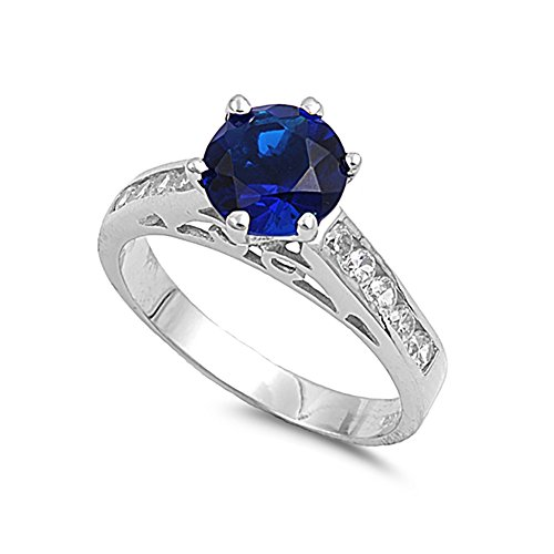 Solitaire Accent Wedding Engagement Ring Round Simulated Blue Sapphire Round 925 Sterling Silver, Size-9