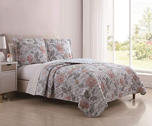 S.L. Home Fashions 3 Piece Verona Rosa Pink/Gray Quilt Set King