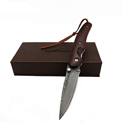 ALBATROSS HGDK004 Awesome EDC VG10 Damascus Pocket Folding Knife Lanyard, Rosewood Handle, Gifts/Collections