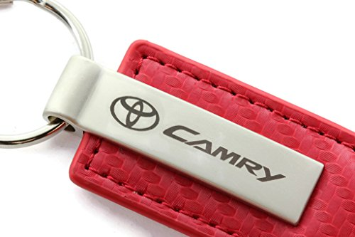 - Toyota Camry Red Carbon Fiber Leather Logo Key Chain